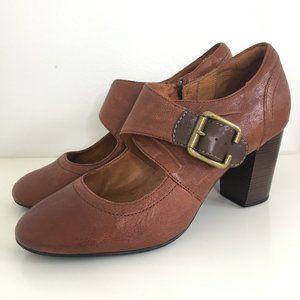 Clarks Indigo Brown Tan Mary Jane Heels Pumps